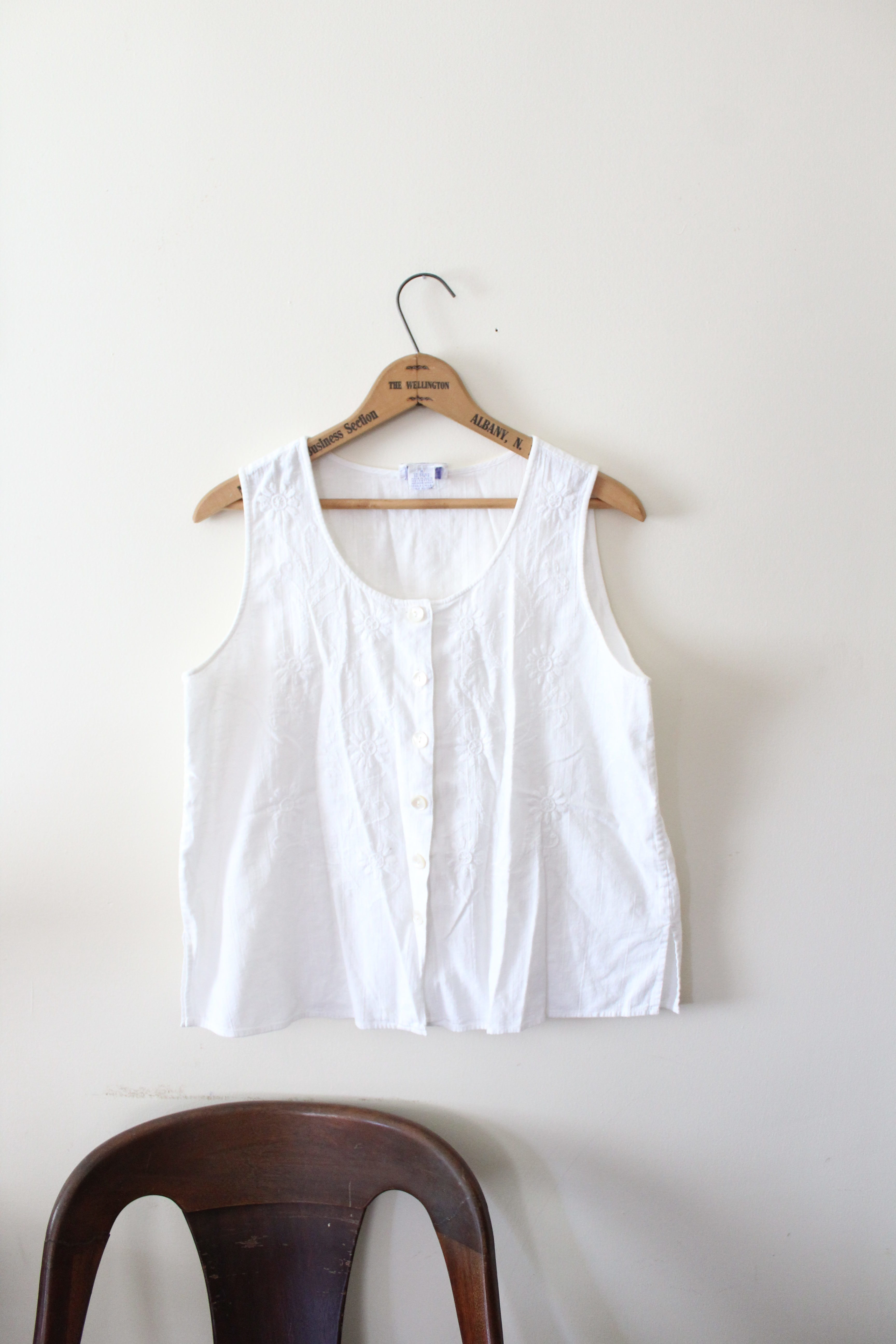 vintage white thrifted tank top