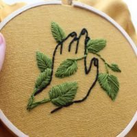 plant and hand embroidery
