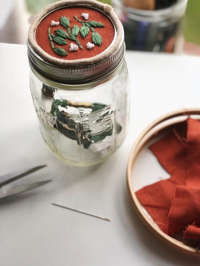 mason jar embroidery project
