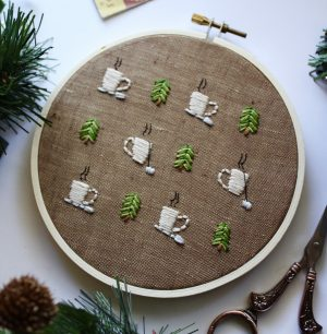 coffee embroidery pattern