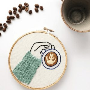 latte art embroidery pattern
