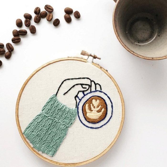 latte art embroidery pattern