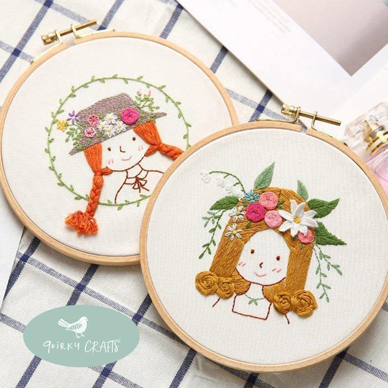 illustrated embroidery hoop