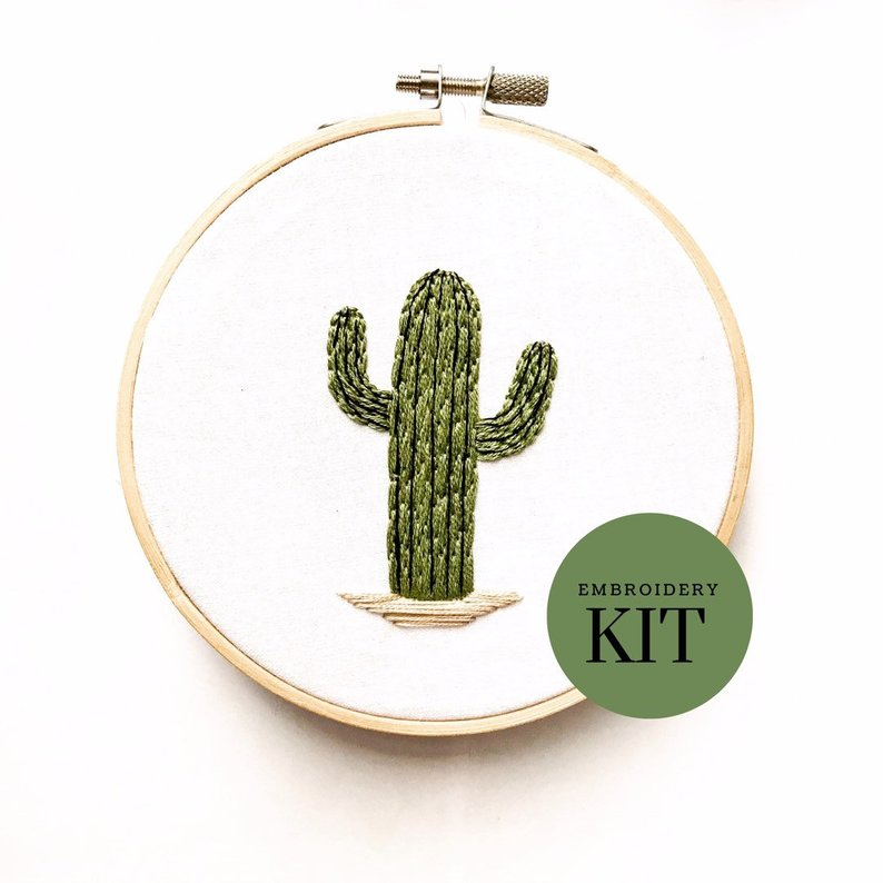 cactus embroidery kit for beginners
