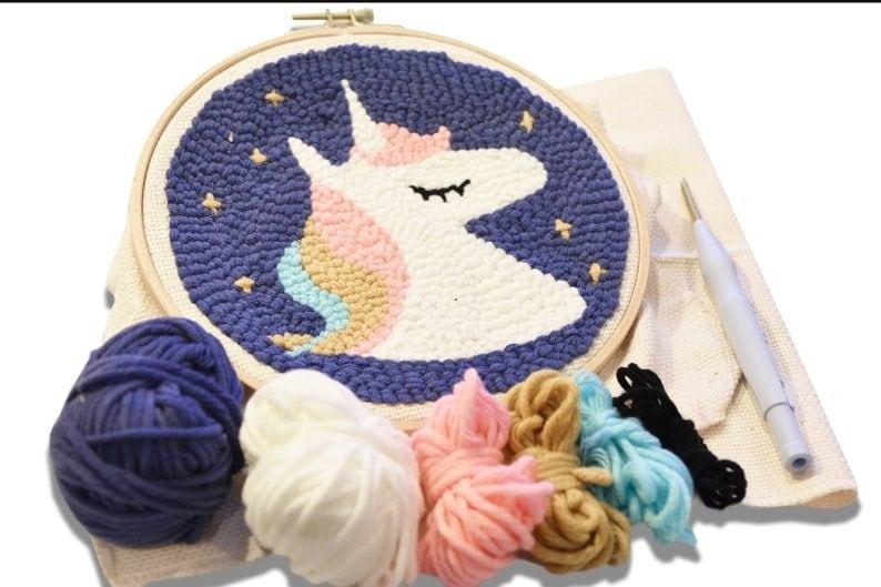 punch needle unicorn pattern