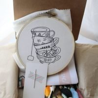 teacup hand embroidery pattern
