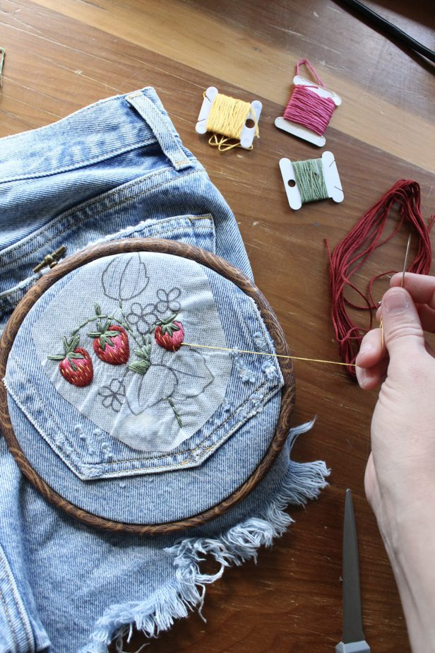 hand embroidering on clothes