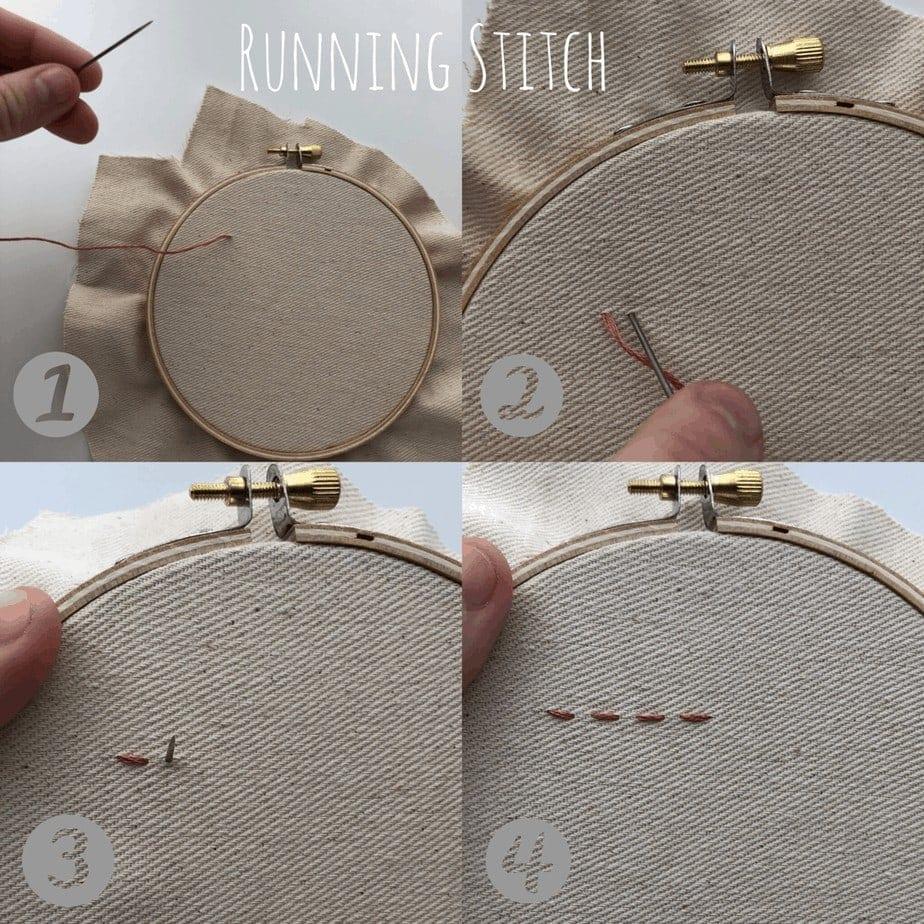 basic embroidery stitch: running stitch