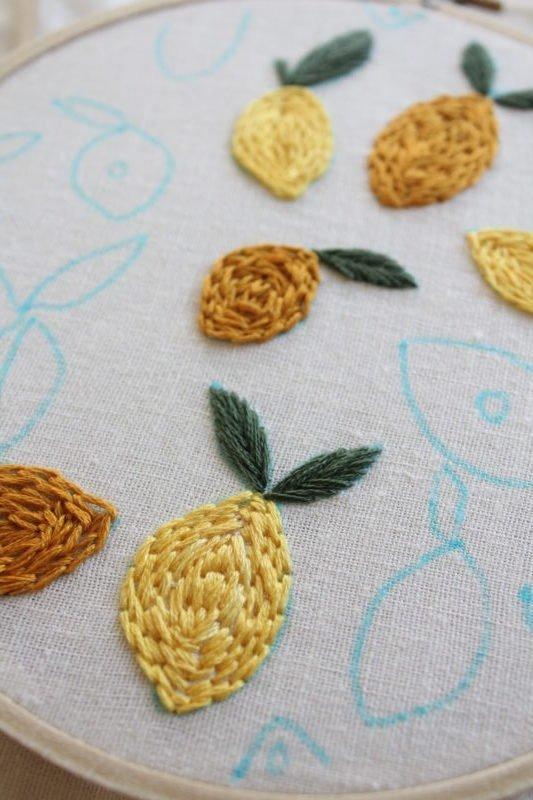 Stitch Along – Lemon Citrus Embroidery Pattern