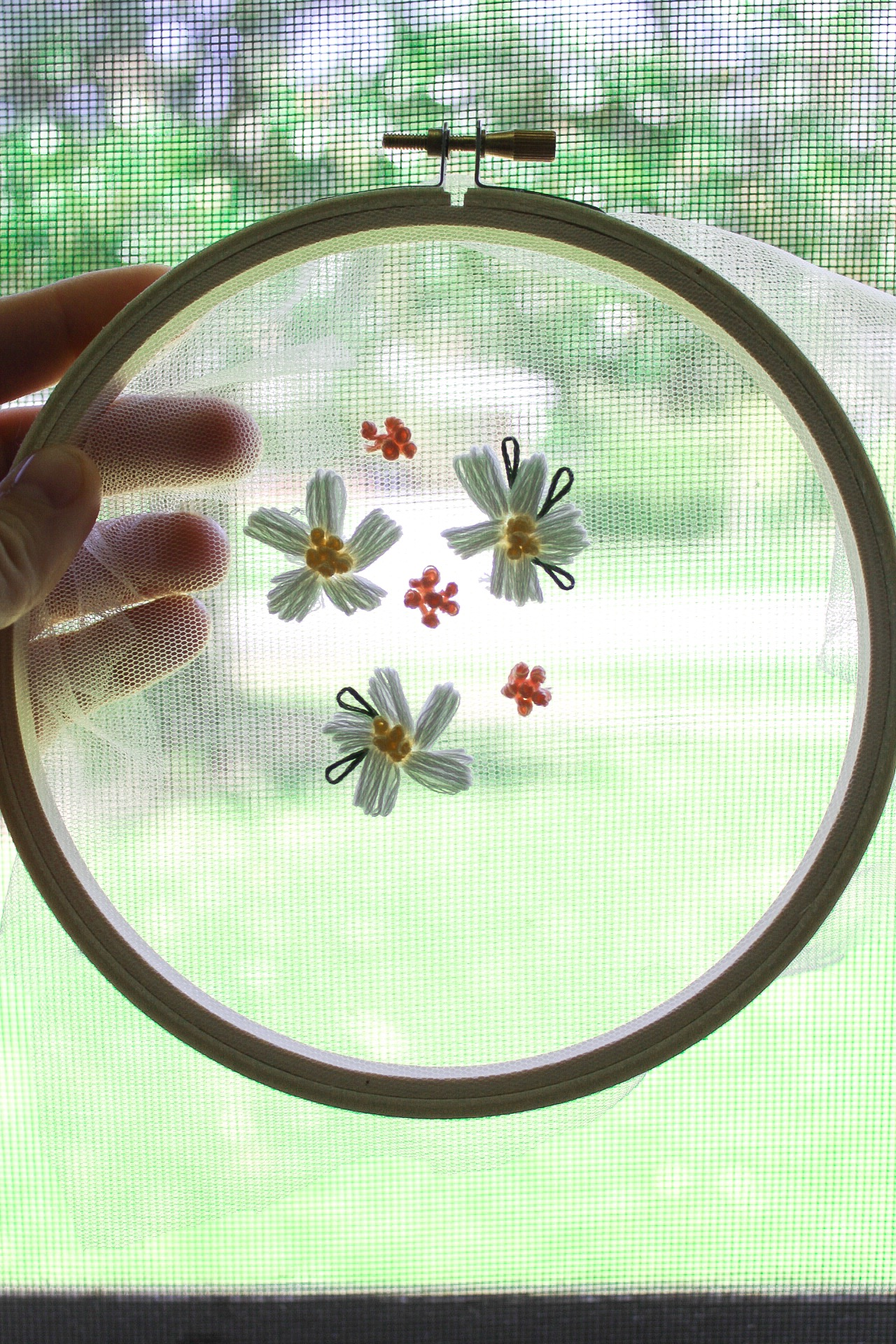 embroidery on tulle fabric