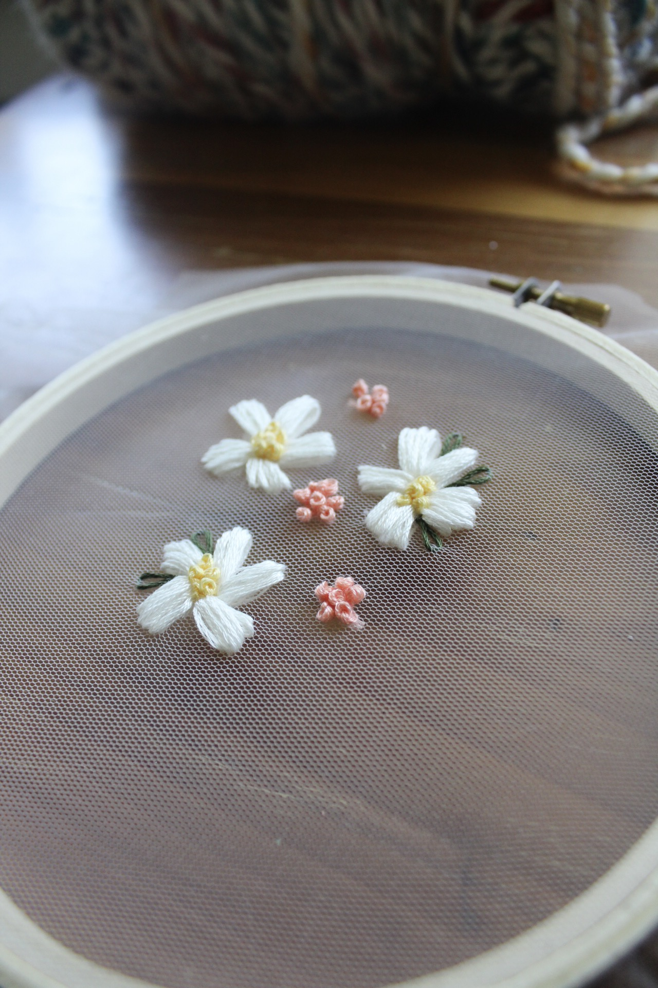 floral embroidery on tulle