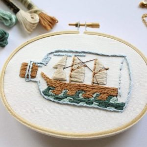 ship in a bottle embroidery kit