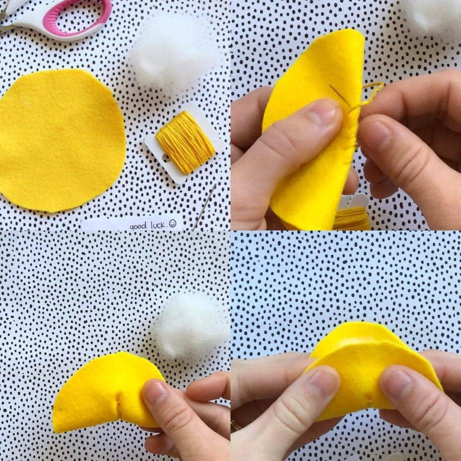 diy felt fortune cookie ornament