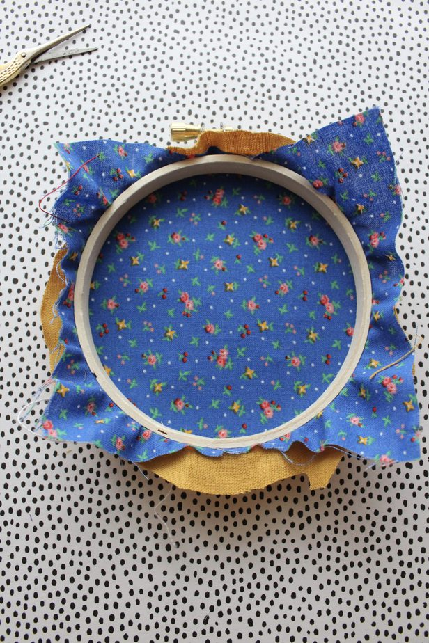 fabric on the back of embroidery hoop
