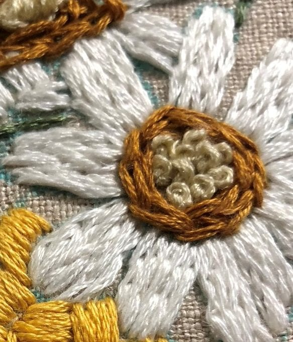 flower with french knot stitches