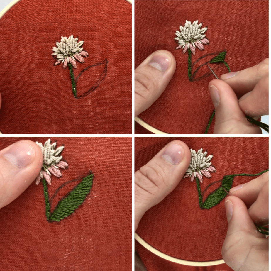 how to embroider a leaf