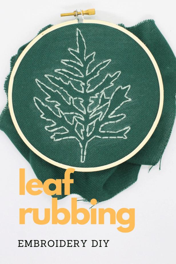 diy leaf rubbing embroidery