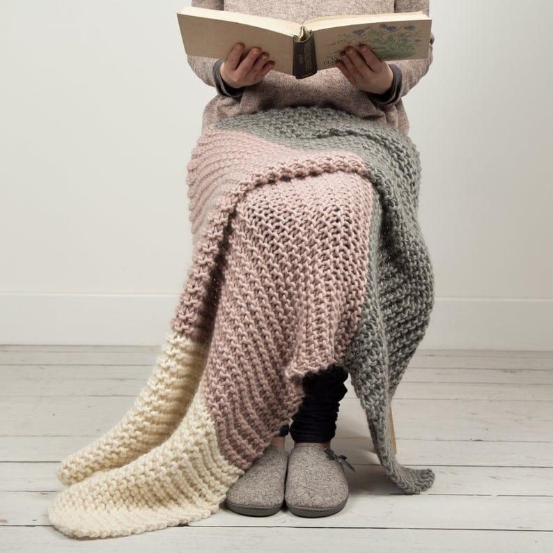 beginner knitting blanket kit