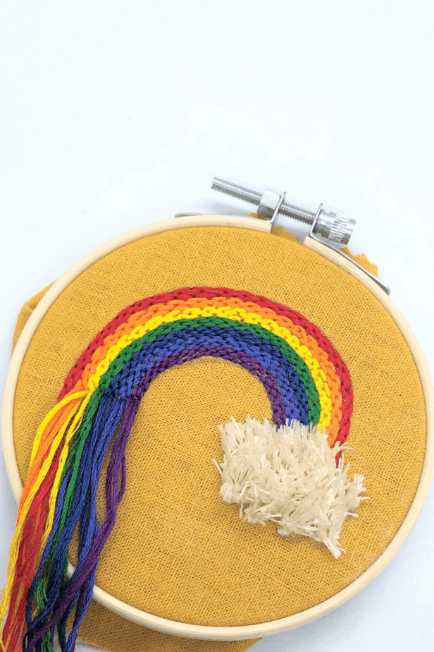 colorful rainbow hand embroidery hoop
