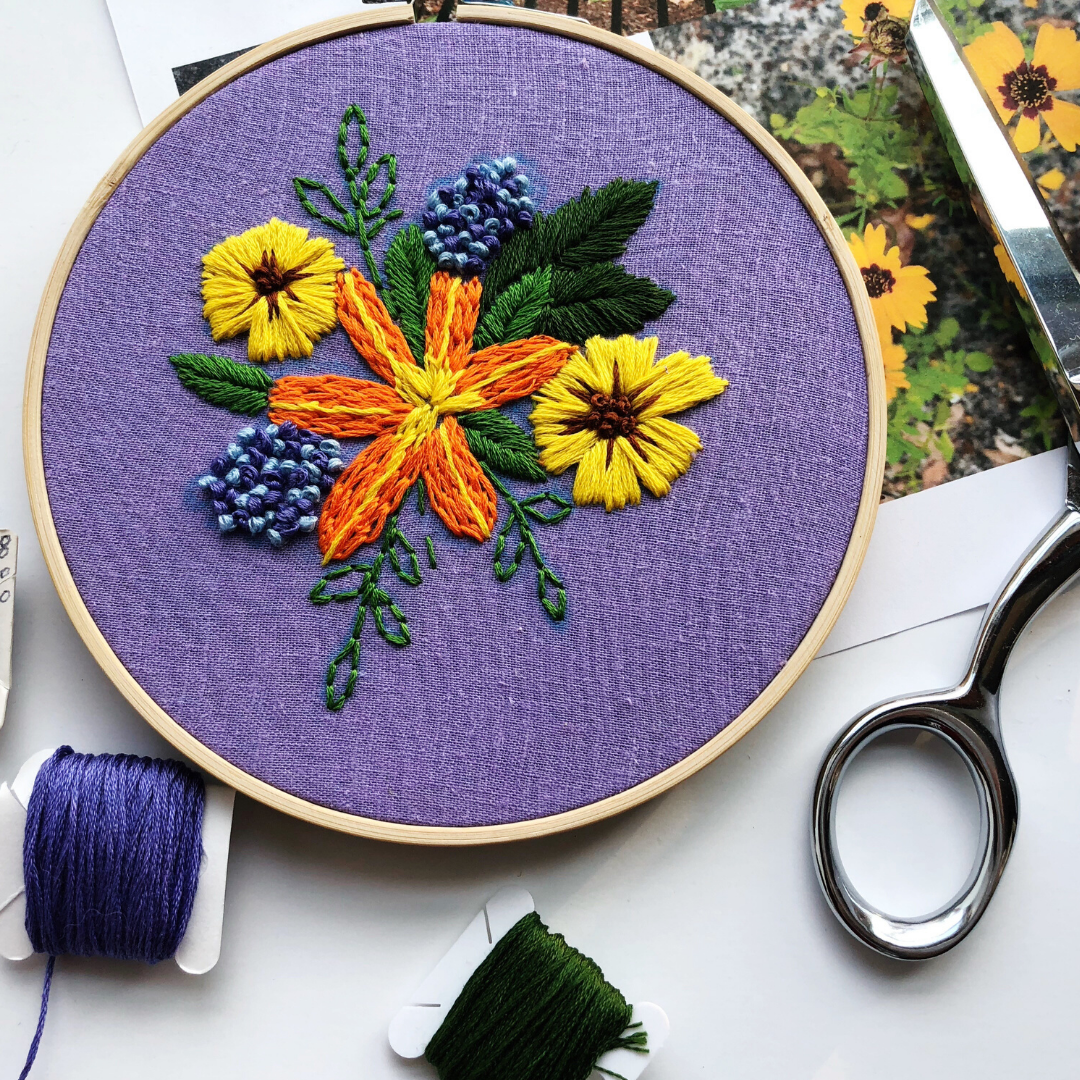 Embroidery Class – Embroidered Flowers