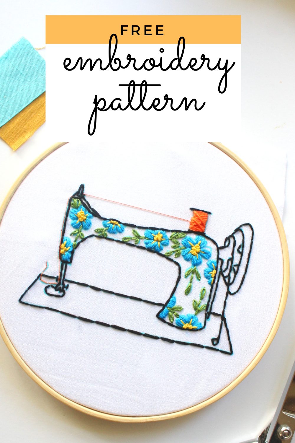 free embroidery pattern with instructions of a vintage sewing machine with a floral pattern on it