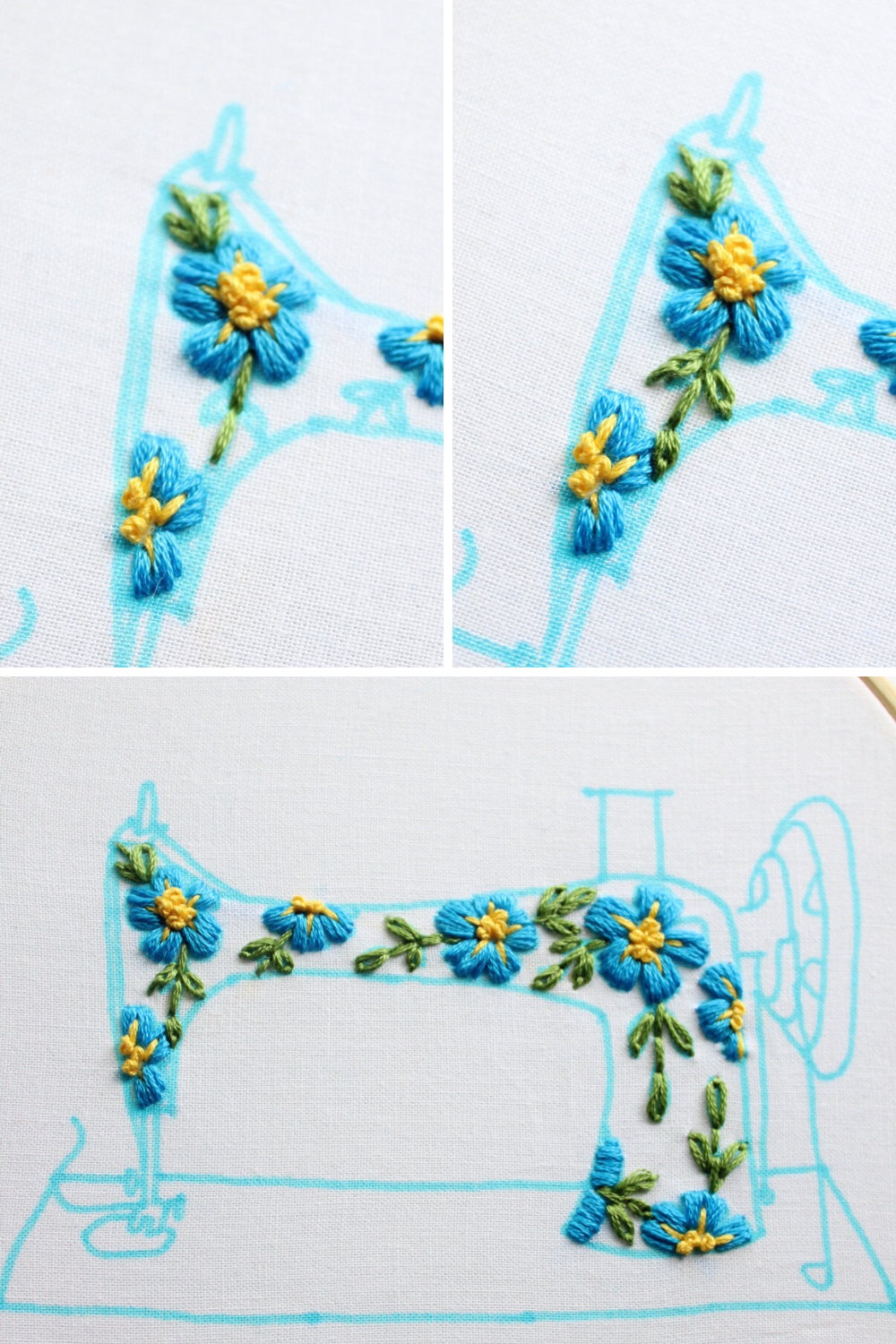 free embroidery pattern with instructions - how to embroider the flowers leaves