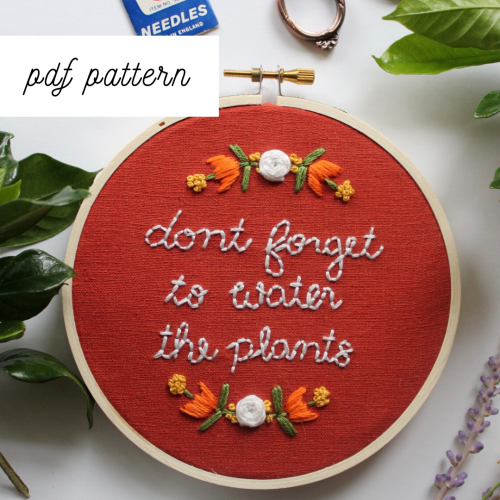 plant embroidery pattern
