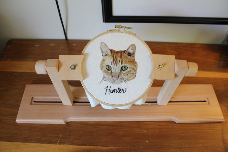 embroidery stand with embroidery hoop