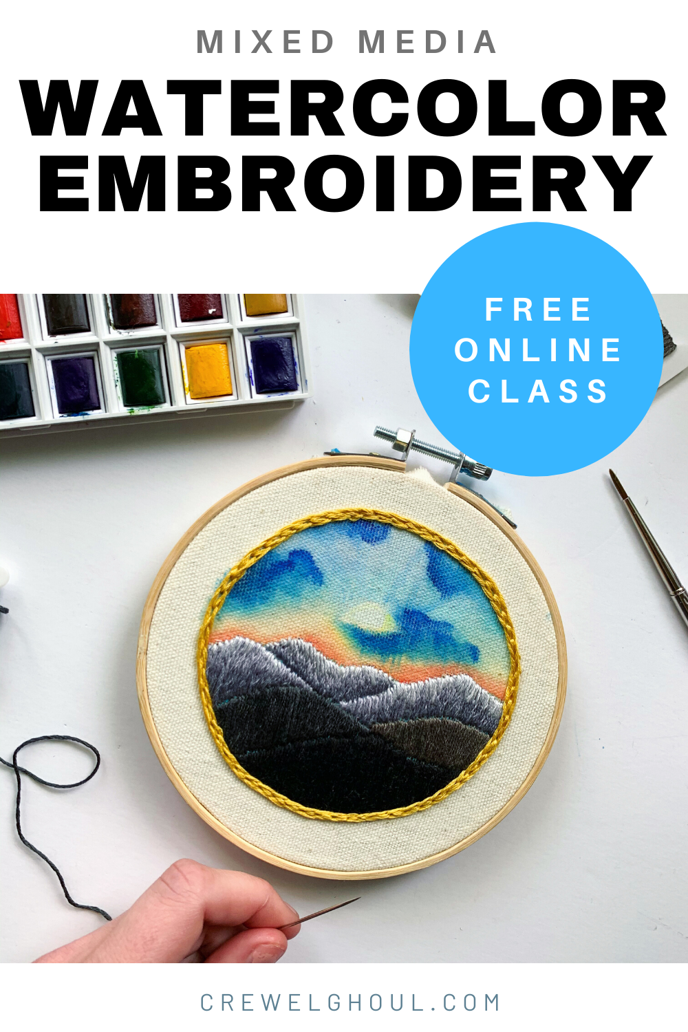 mixed media watercolor embroidery free embroidery pattern and online class