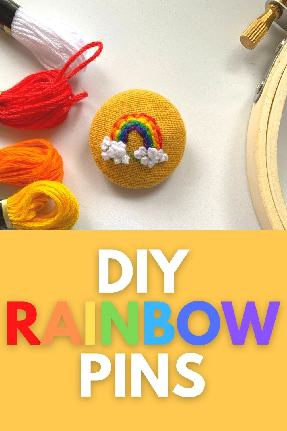 fabric covered button and rainbow embroidery tutorial