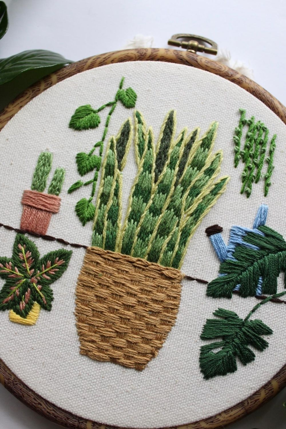 free embroidery pattern - embroidered house plants