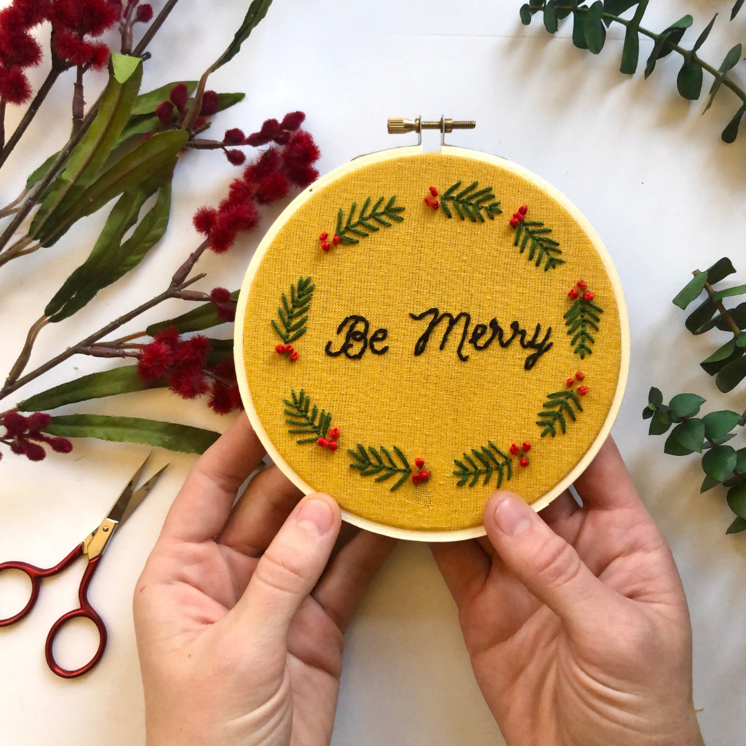 Be Merry Pine Leaf Embroidery Pattern by Crewel Ghoul