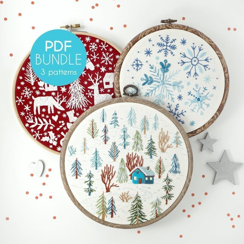winter bundle embroidery pdf patterns by WhyKnotStitches