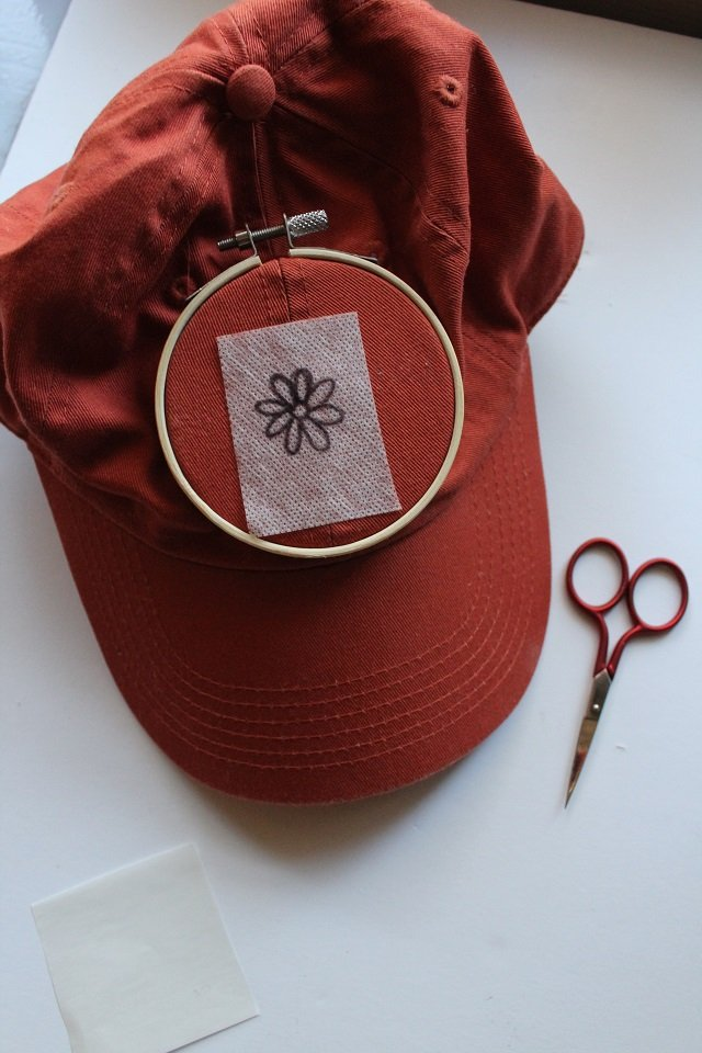 how to embroider a hat by hand - transferring the design
