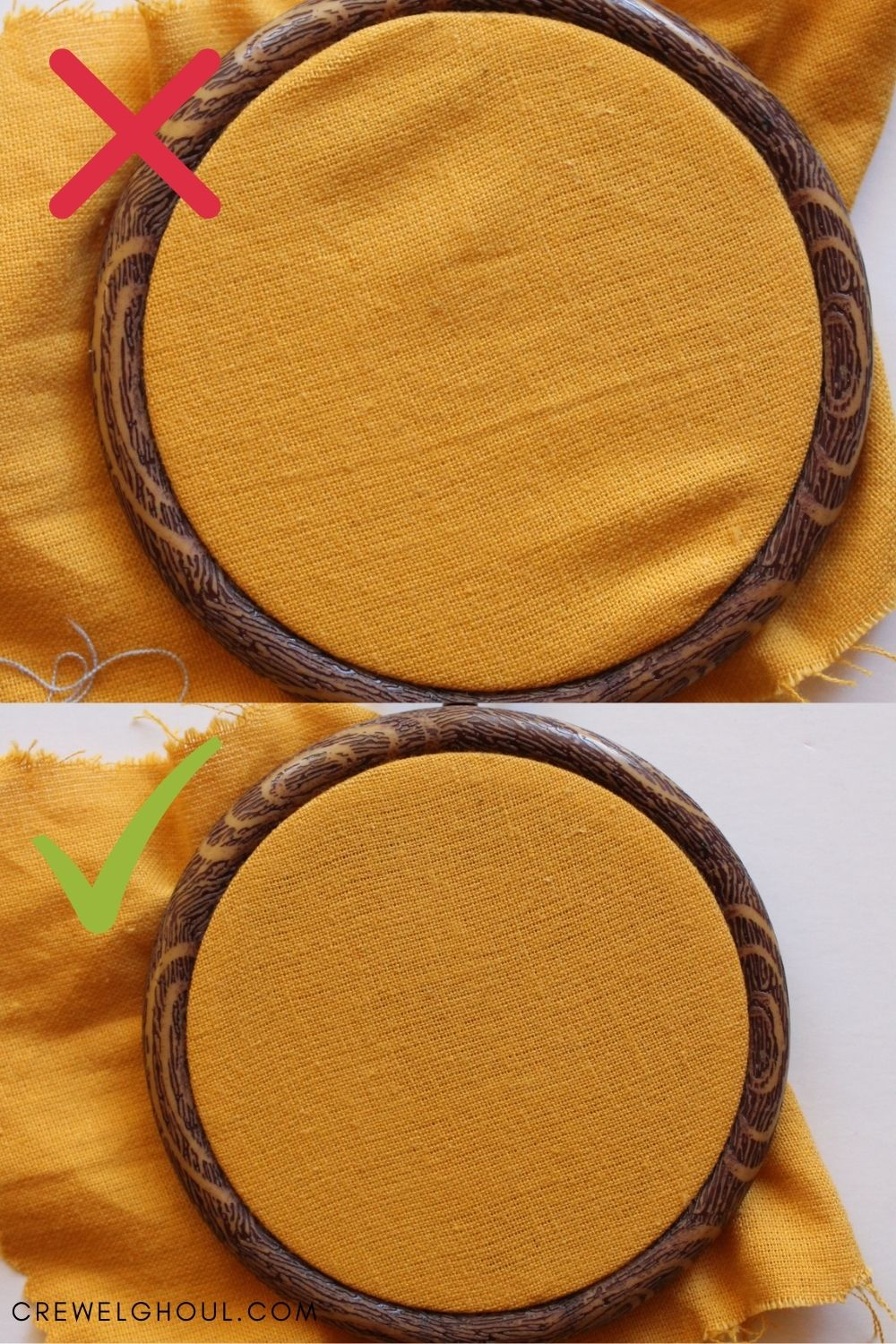 fabric loose in embroidery hoop vs fabric tight in embroidery hoop