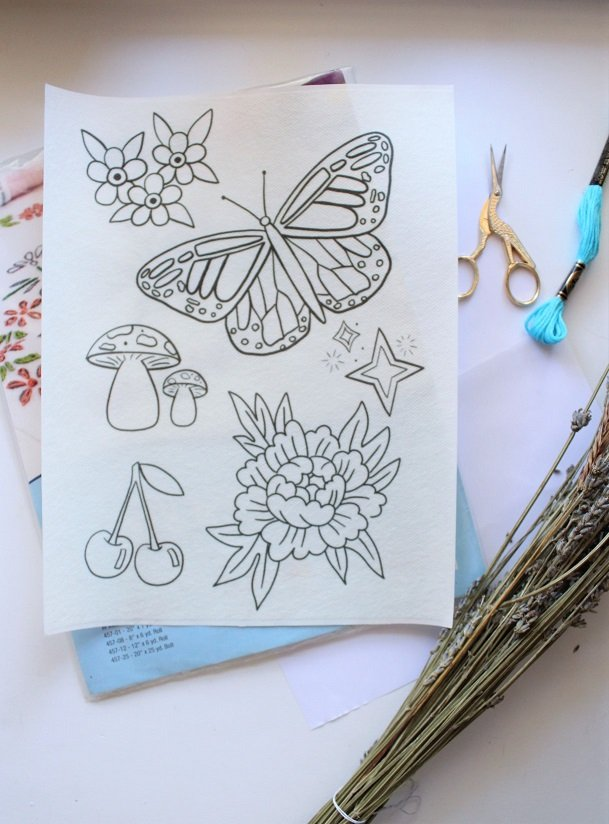 printable embroidery pattern paper with designs on it