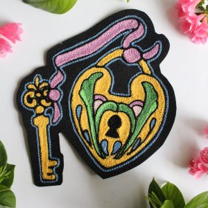 decorative lock and key chainstitch patch