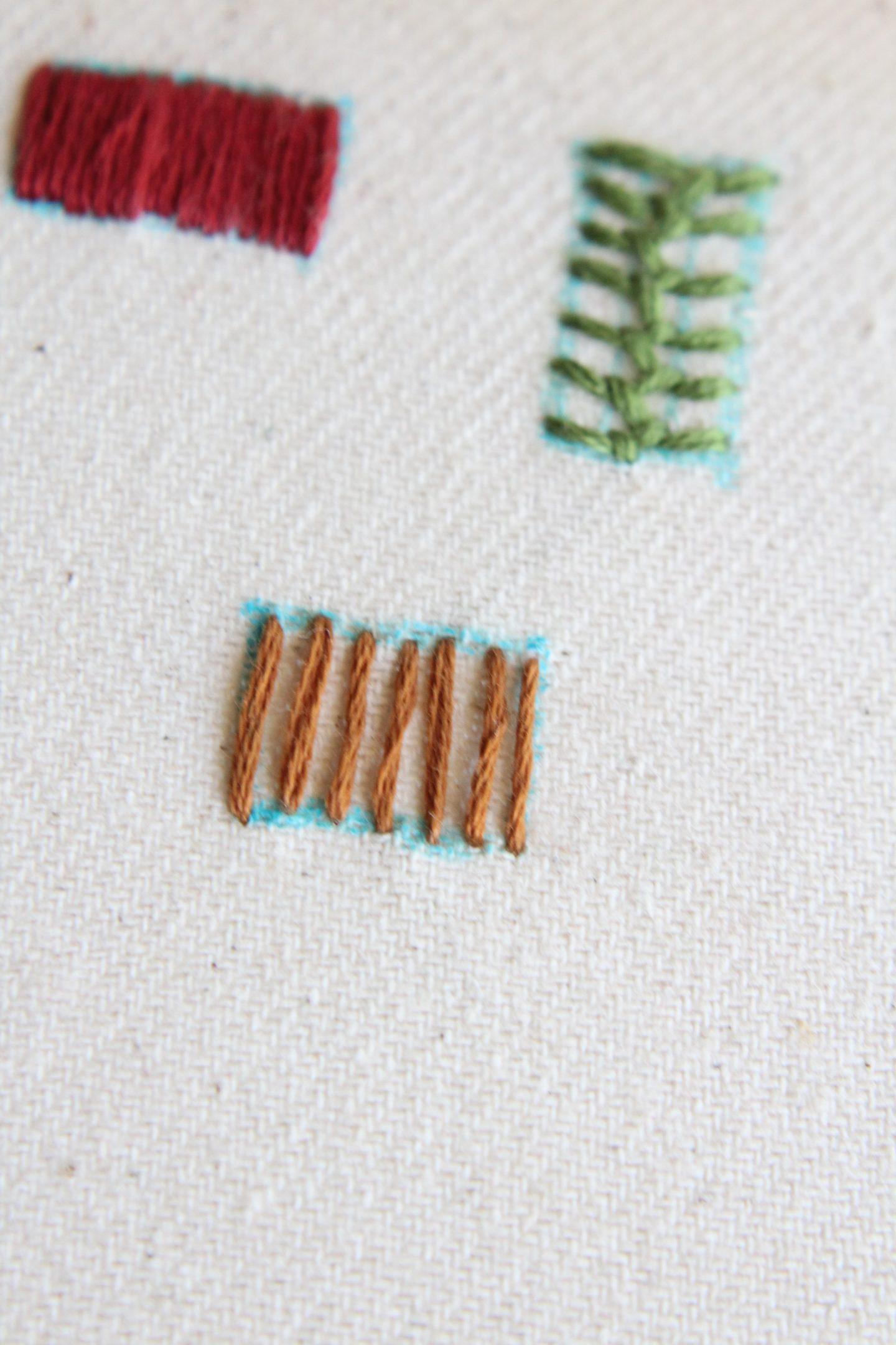 basket weave stitch tutorial step 1 - make vertical stitches