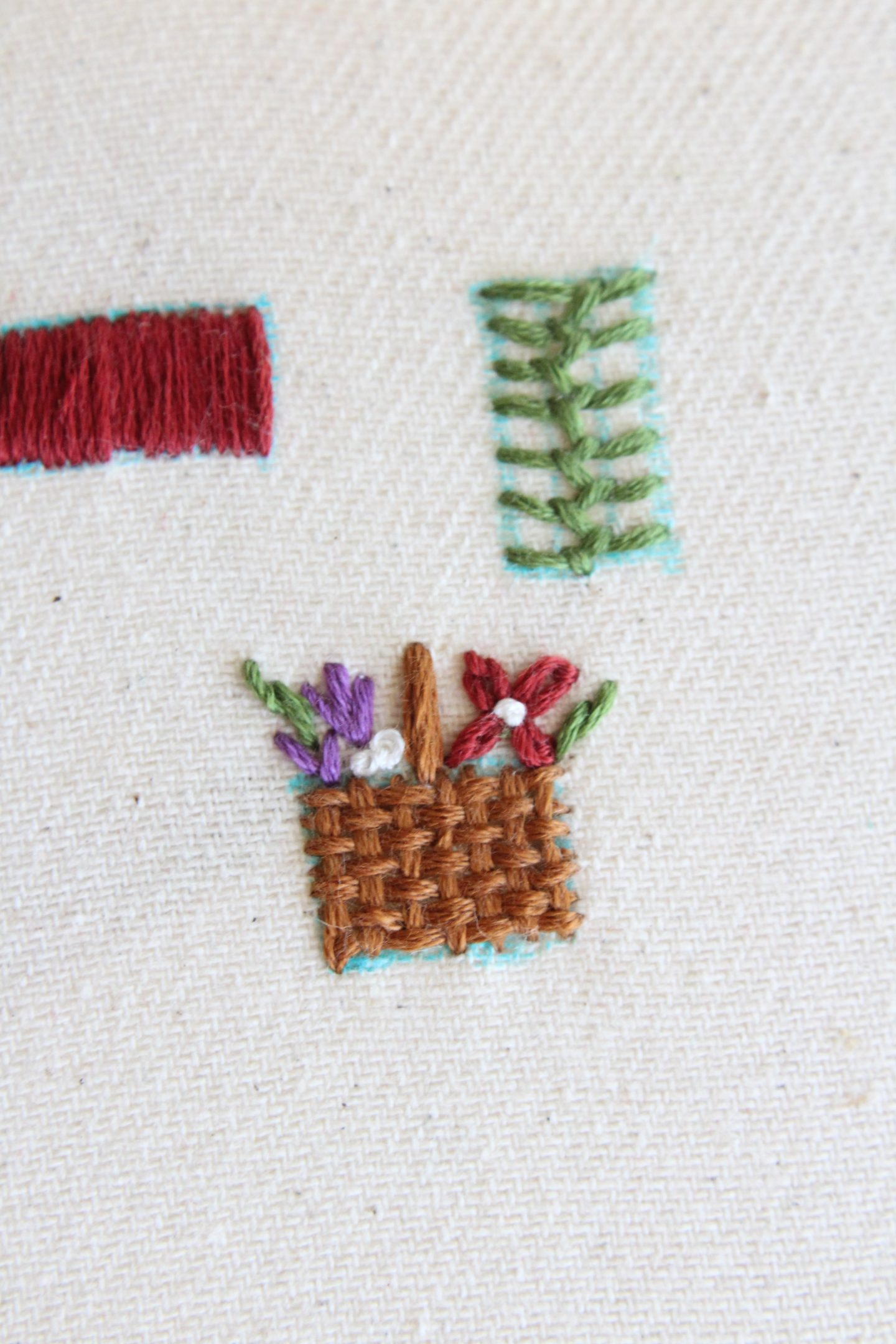 embroidered basket with flowers