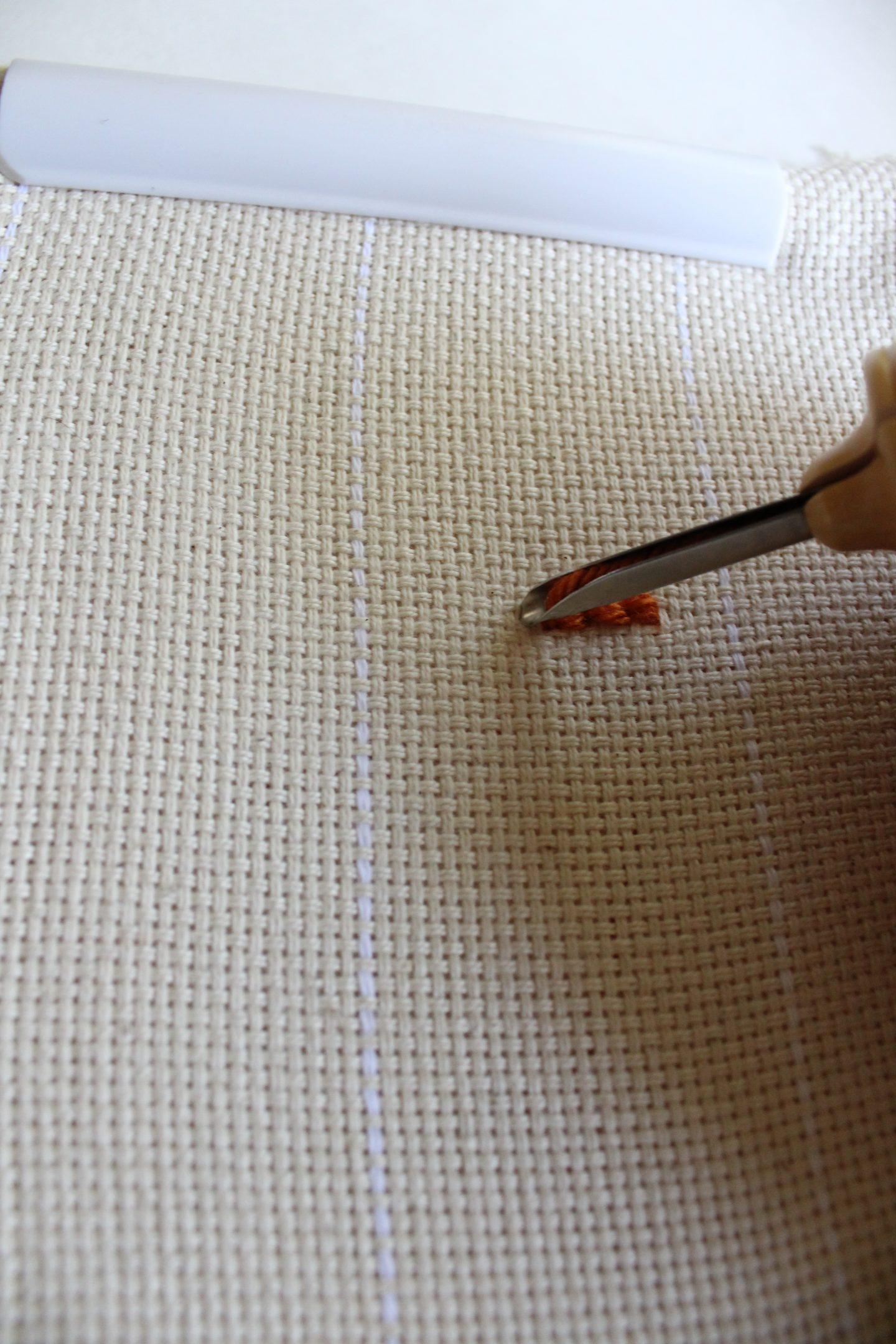 starting punch needle stitch