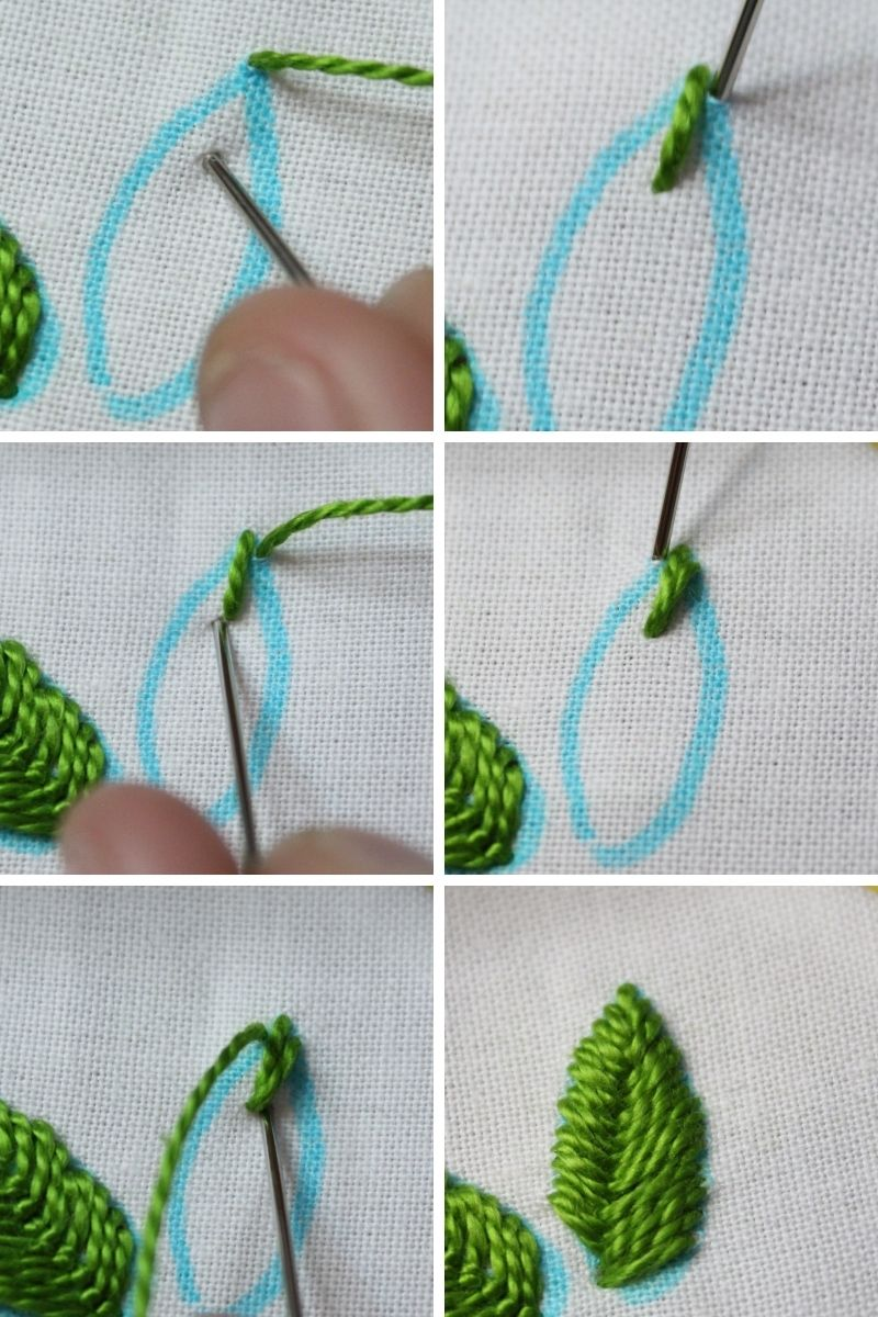 how to embroider leaves using the fishbone stitch