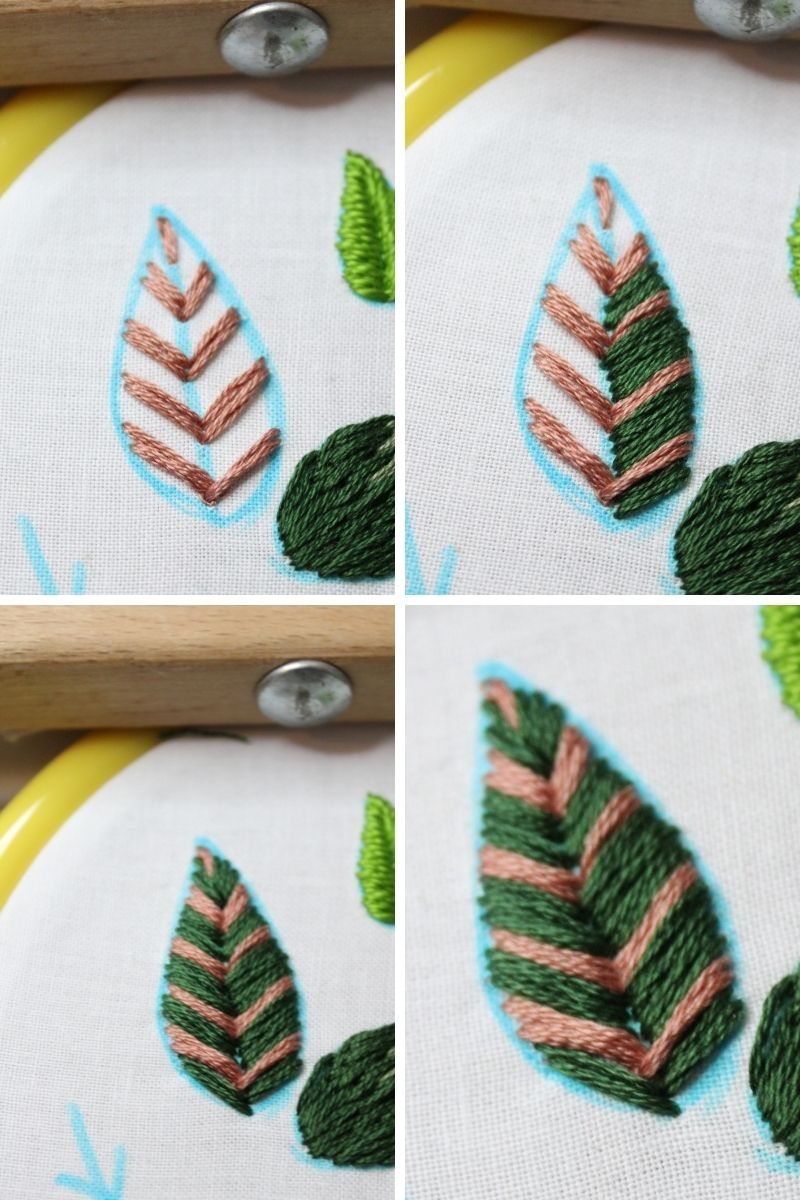 how to embroider a leaf vein