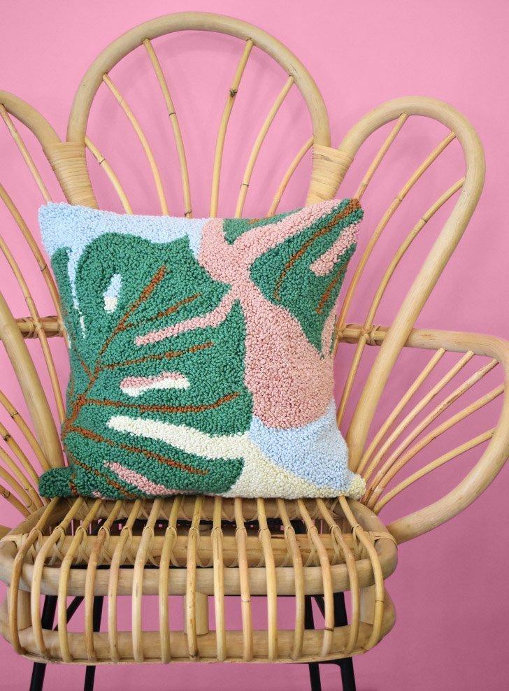 monstera punch needle pillow pattern