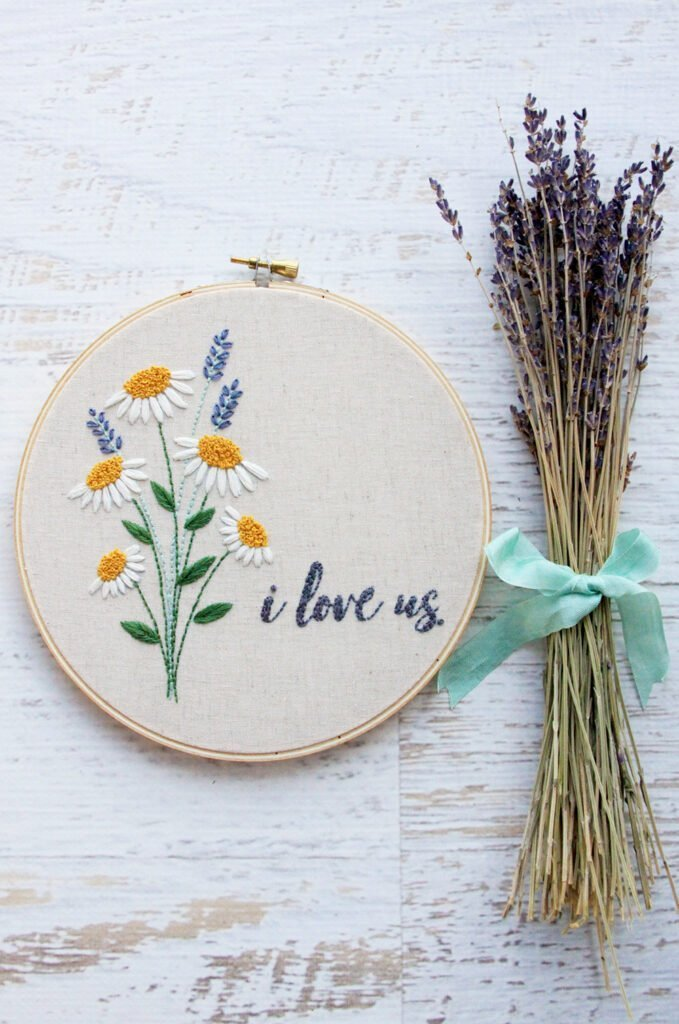 flower embroidery pattern  that says i love us