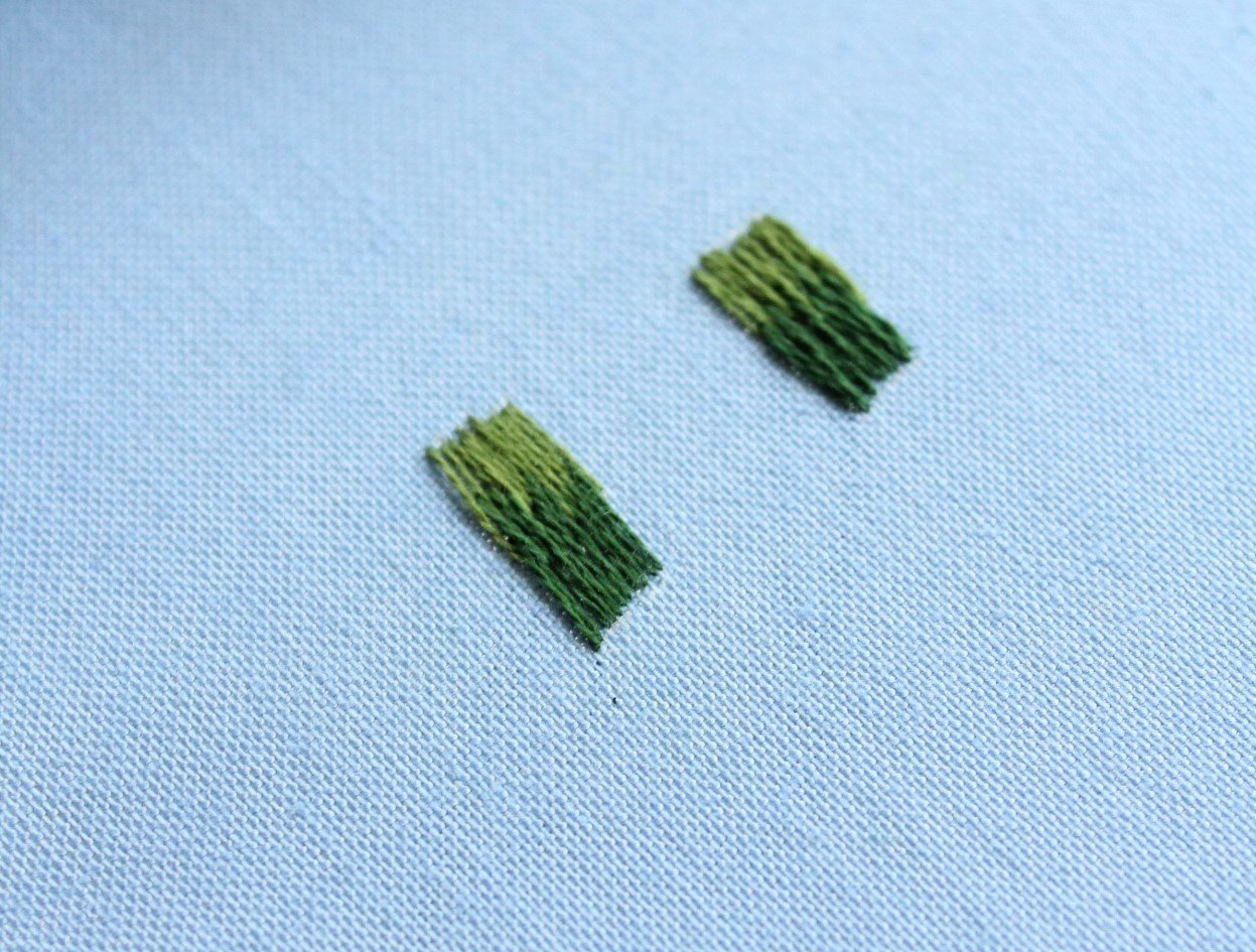 long and short stitch using 1 and 2 strands of embroidery floss