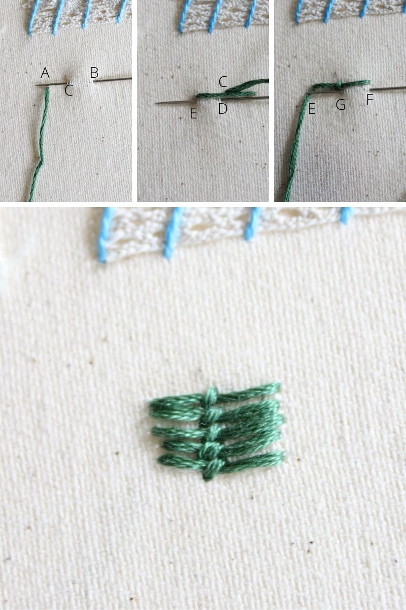 roumanian couching stitch step by step