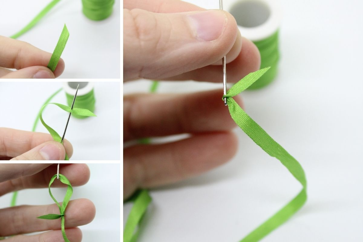 threading a needle for ribbon embroidery