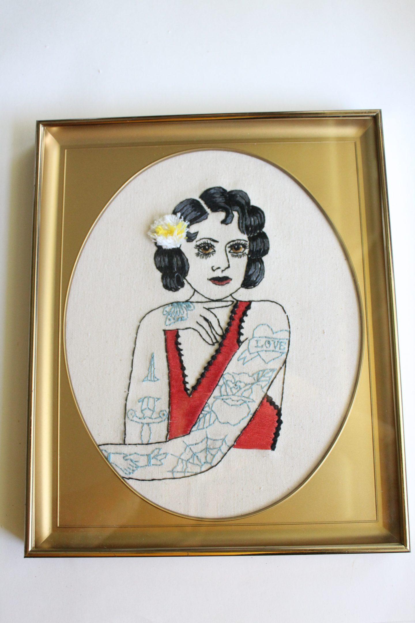 framed embroidery art