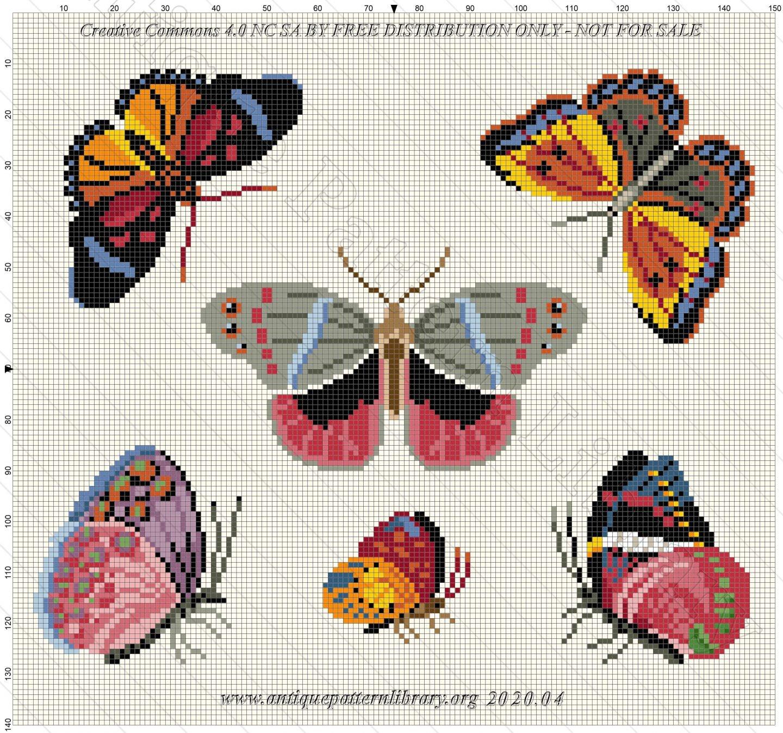 assorted butterflies cross stitch pattern