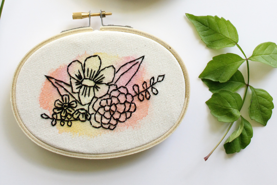 simple flower watercolor embroidery